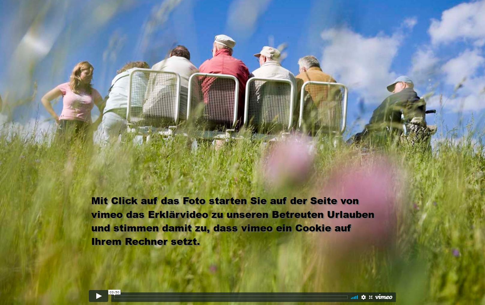Mit Click auf das Bild starten Sie auf der Seite vin vimeao das fast vierminütige Erklärvideo zu unseren Betreuen Urlauben und stimmen zu, dass vimeo auf Ihrem Rechner ein Cookie setzt.
